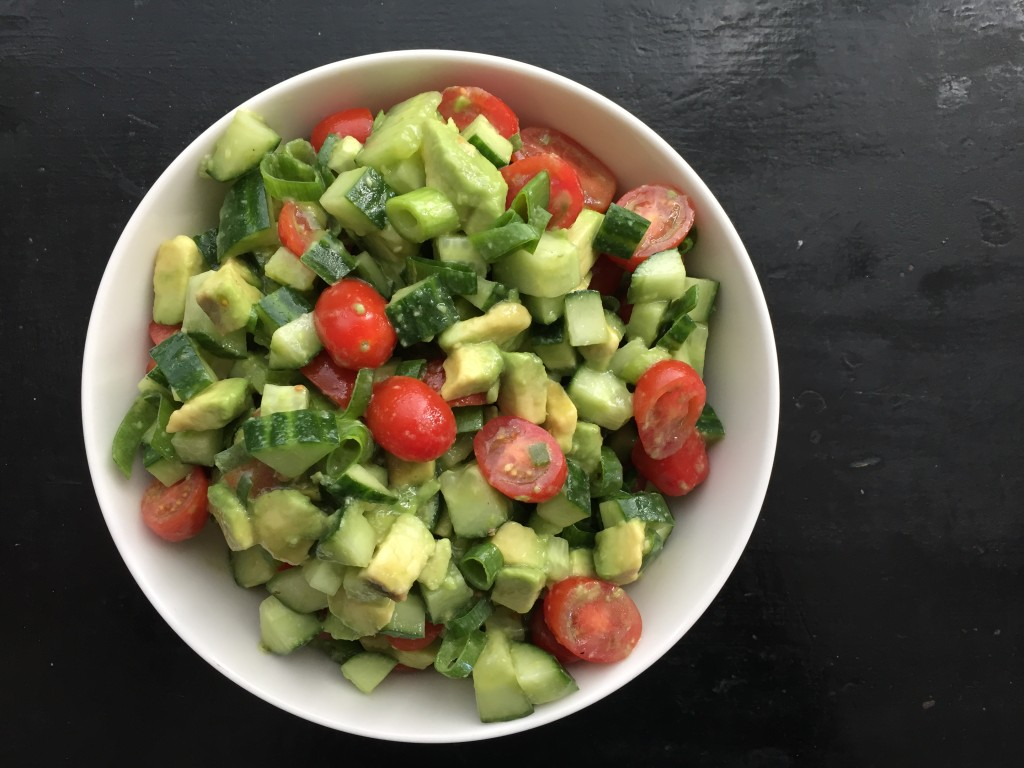 Tomato, Avocado & Cucumber Salad with White Balsamic Vinaigrette