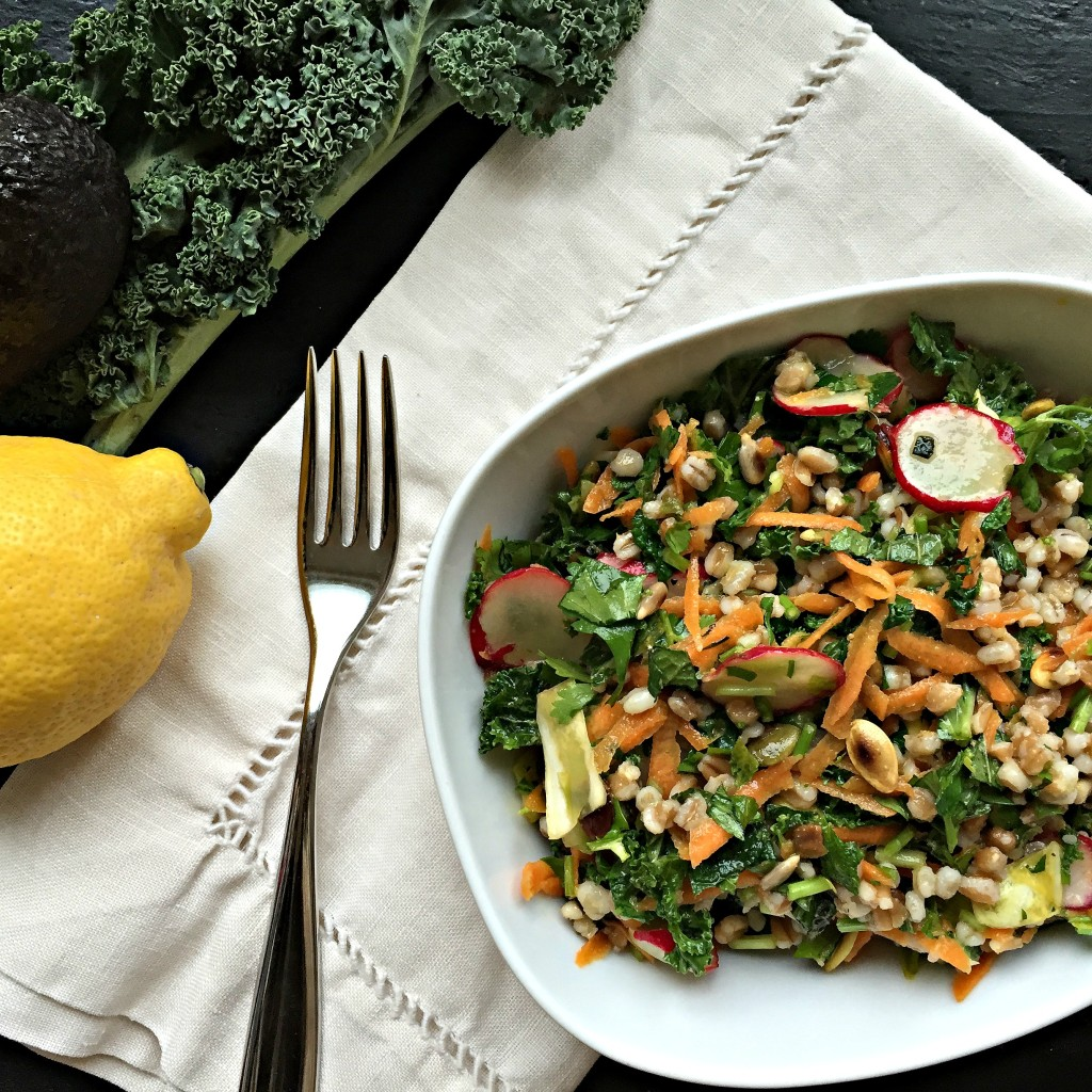 Whole Grain, Kale and Mixed Herb Salad